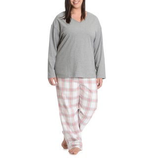 La Cera Women's Plus Size Plaid Pant Pajama Set Pink