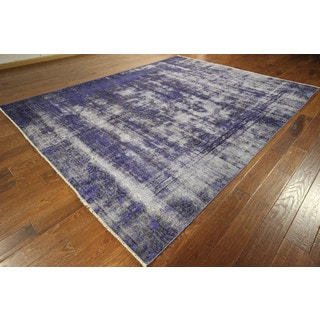 Unique Persian Kerman Purple Overdyed vegetable dyed Hand-knotted Wool Rug (9' x 12', 9' x 10')
