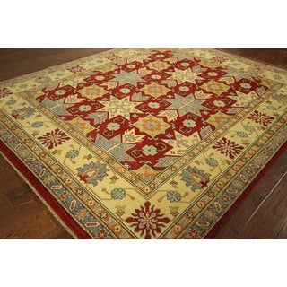 New Geometric Hand-knotted Wool Red Super Kazak Rug Oriental H6181 Rug (8' x 9')