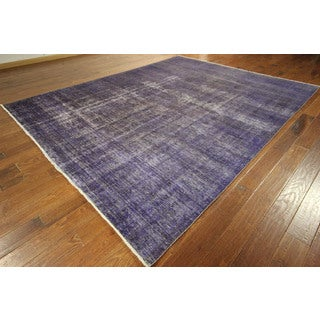 New Persian Overdyed Purple Tabriz Hand-knotted Wool Oriental Rug (9' x 12', 9' x 10')