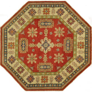 New Unique Octagon Wool Hand-knotted Super Kazak Red Area Rug (8' x 8', 8')