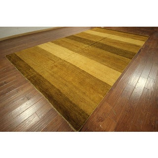 New 300 KPSI Brown Hand-knotted Striped Gabbeh Oriental Area Wool Rug (9')