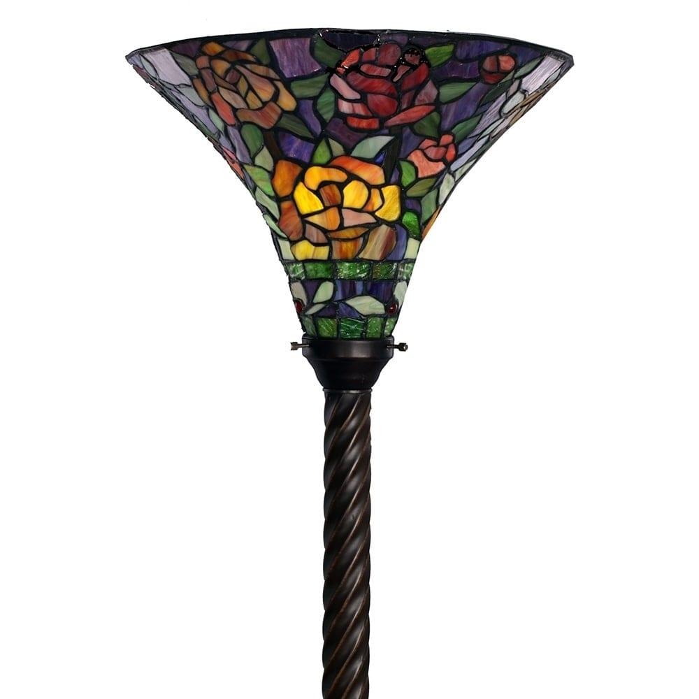 Warehouse of Tiffany Tiffany-style Rose Torchiere, Black ...