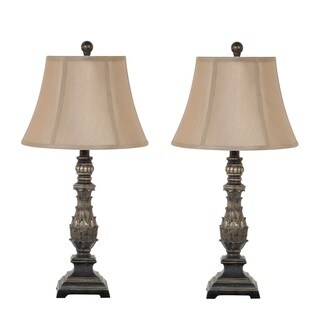 27-inch Antique Gold Table Lamp Set