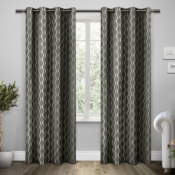 shop ati home trellis cotton grommet top curtain panel pair on sale free shipping on orders. Black Bedroom Furniture Sets. Home Design Ideas