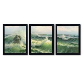 Rio 'Waves II' Three 16x20 Black Framed Canvas Wall Art Set