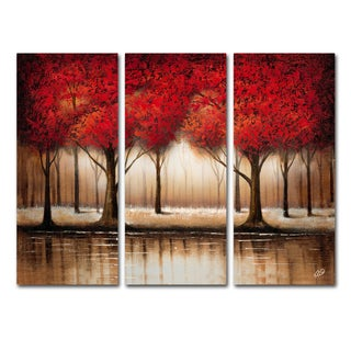 Rio 'Parade of Red Trees' 3 Panel Art Set
