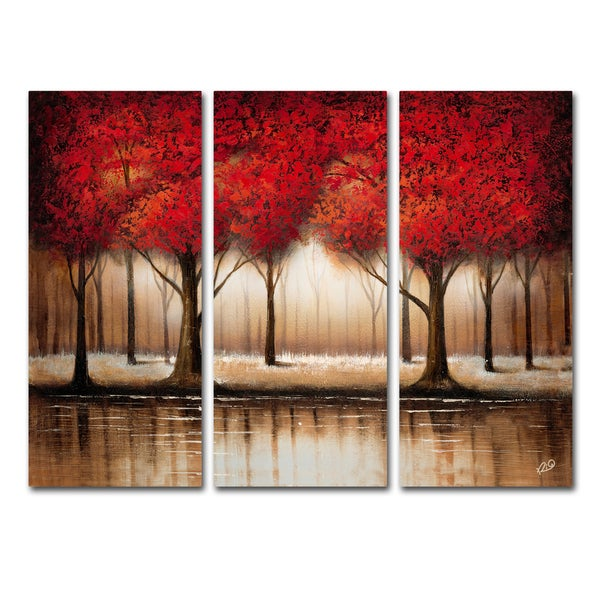 Shop Rio Parade Of Red Trees 3 Panel Art Set Free