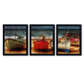 Erik Brede 'Resting Boats' Three 16x20 Black Framed Canvas Wall Art Set