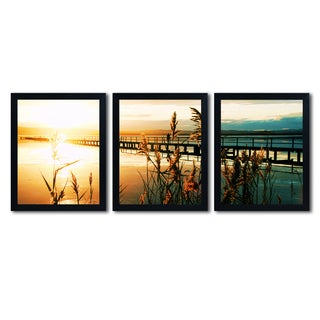 Beata Czyzowska Young 'Wish You Were Here' Three 16x20 Black Framed Canvas Wall Art Set