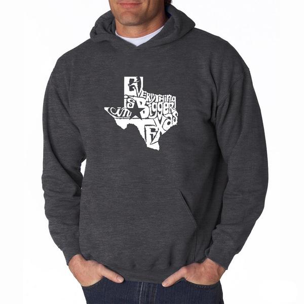 LA Pop Art Mens Everything is Bigger in Texas Hooded Sweatshirt