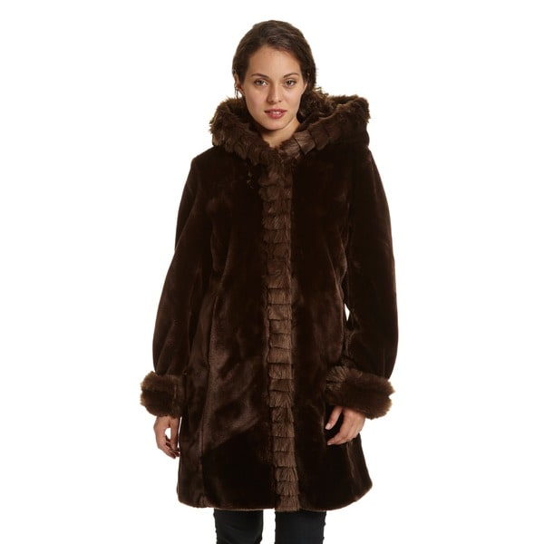 Excelled Women's Faux Fur Hooded 3/4 Length Coat. Opens flyout.