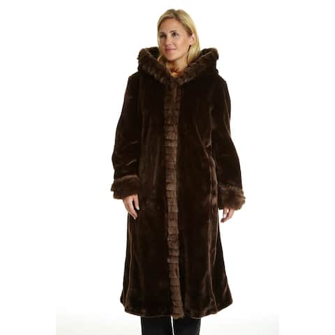 Excelled Women's Plus Faux Fur Hooded Full Length