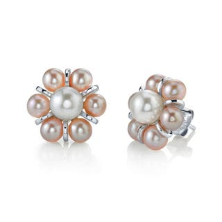 Radiance Pearl Sterling Silver Multicolored Freshwater Pearl Earrings (4-5mm)