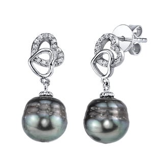 Radiance Pearl Sterling Silver Drop Shaped Tahitian South Sea Pearl and Crystal Heart Earrings (10-11mm)