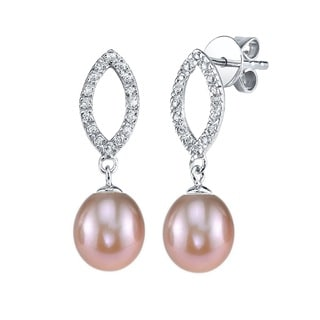 Radiance Pearl Sterling Silver Drop Shaped Pink Freshwater Pearl and Crystal Earrings (7-8mm)