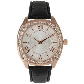 Olivia Pratt Women's Rose Goldtone Croc-Embossed Leather Watch