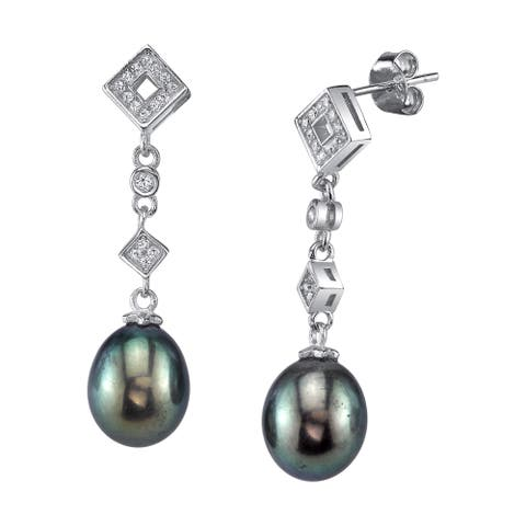 Radiance Pearl Sterling Silver Drop Shaped Black Freshwater Pearl and Crystal Earrings (9-10mm)