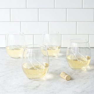 Link to Home State Stemless Wine Glasses (Set of 4) Similar Items in Glasses & Barware