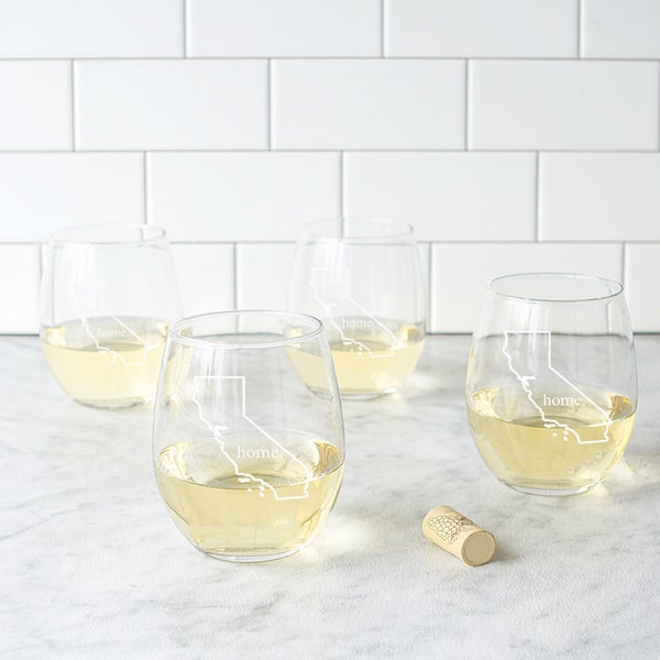 Home State Stemless Wine Glasses (Set of 4). Opens flyout.