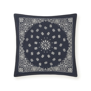 Tommy Hilfiger Navy and Ivory Bandana 18-inch Decorative Pillow