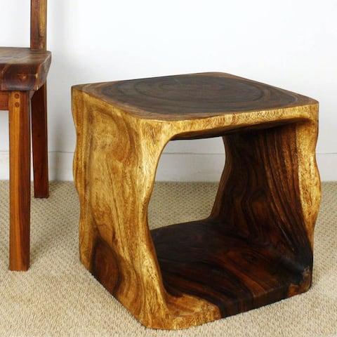 "Haussmann® Wood Natural Cube End Sofa Table 16 in x 16 in H Walnut Oil - 16"" x 16"" x 16"""