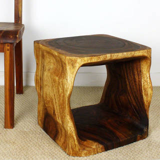 Haussmann Handmade Eco Wood Coffee Table Natural Cube 16 in x 16 in H Walnut Oil