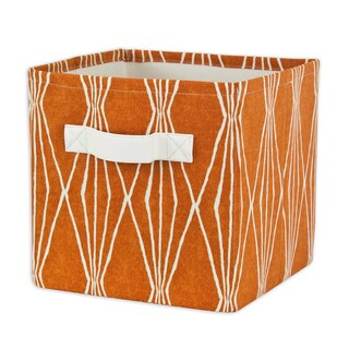 Handcut Shapes Crushed Orange Storage Bin with Tanner Saxony Handle