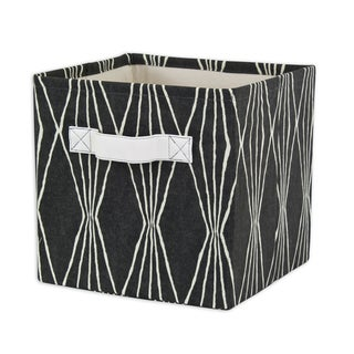 Handcut Shapes Charcoal Storage Bin with Avanti White Handle
