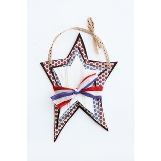 Hanging Patriotic Stars Wood Decor Accent