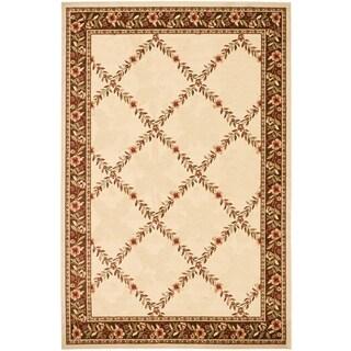 Renaissance Ivory/Brown Floral Lattice Area Rug (7'10 x 10'10)