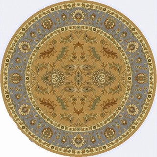 Renaissance Light Beige Traditional Border Area Rug (5'3 x 5'3 Round)