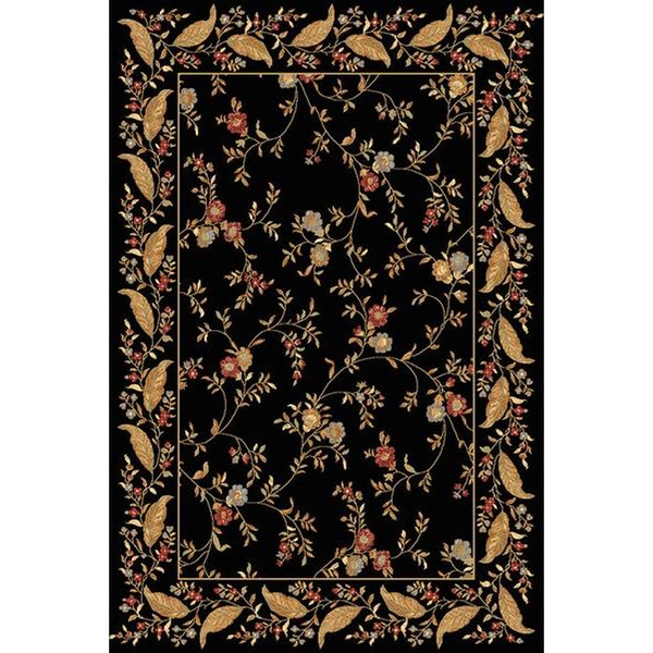 Renaissance Black Floral Border Area Rug 2 X 77
