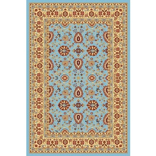 Renaissance Blue/Cream Traditional Print Area Rug (2 x 7'7)
