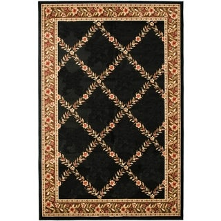 Renaissance Black/Brown Floral Lattice Area Rug (2 x 7'7)