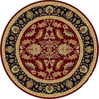 Renaissance Red Traditional Border Area Rug (5'3 x 5'3 Round)