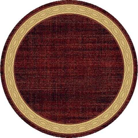 Renaissance Red Contemporary Border Area Rug - 5'3 x 5'3 Round