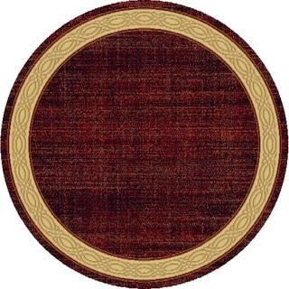 Renaissance Red Contemporary Border Area Rug (5'3 x 5'3 Round)