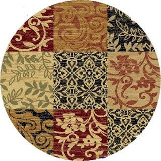 Renaissance Floral Color Block Area Rug (5'3 x 5'3 Round)