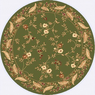 Renaissance Green Floral Border Area Rug (5'3 x 5'3 Round)