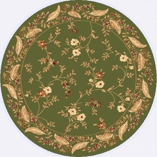 Renaissance Green Floral Border Area Rug (5'3 x 5'3 Round)