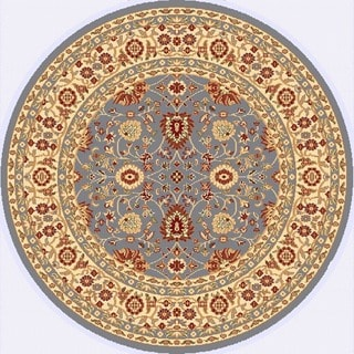Renaissance Blue/Cream Traditional Print Area Rug (5'3 x 5'3 Round)