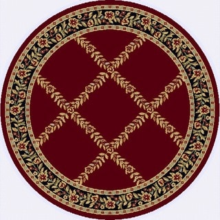 Renaissance Red Floral Lattice Area Rug (5'3 x 5'3 Round)
