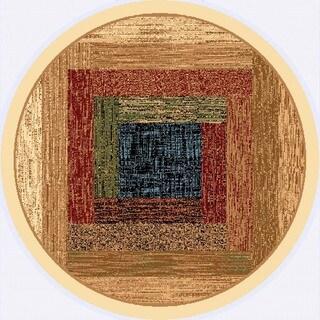 Renaissance Faded Color Block Area Rug (5'3 x 5'3 Round)