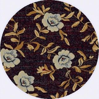Renaissance Black Floral Area Rug (5'3 x 5'3 Round)