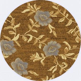 Renaissance Dark Beige Floral Area Rug (5'3 x 5'3 Round)