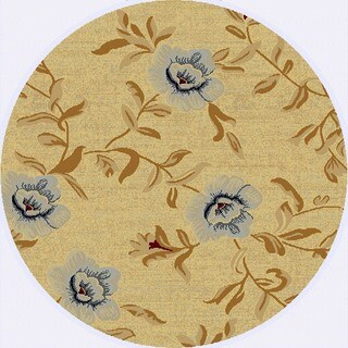 Renaissance Cream Floral Area Rug (5'3 x 5'3 Round)