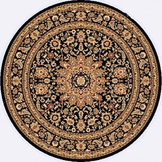 Renaissance Black Traditional Medallion Area Rug (5'3 x 5'3 Round)