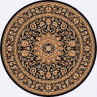 Renaissance Black Traditional Medallion Area Rug (5'3 x 5'3 Round)