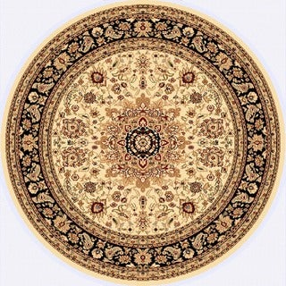 Renaissance Cream/Black Traditional Medallion Area Rug (5'3 x 5'3 Round)